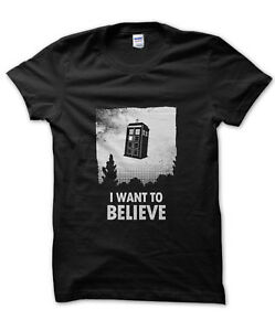 I Want to Believe Tardis t-shirt funny nerd tee Dr Who Doctor alien present gift
