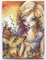 ACEO S/N L/E GIRL SPRITE ONE SOUL SPIRIT DOE DEER EYES AUTUMN GARDEN RARE PRINT