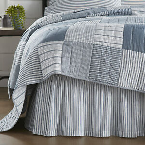 Sawyer Mill Blue Ticking Stripe Queen Bed Skirt 60x80x16