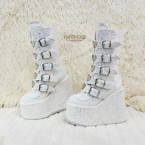 "Swing 230G White Multi Glitter Mid Calf Boot 5.5"" Platform Heart Strap Size 6 12"