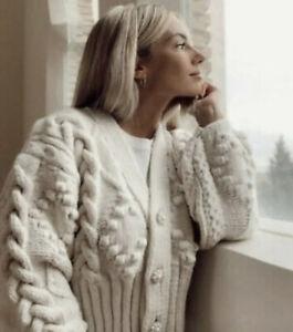Zara Knit Cardigan With Rhinestone Buttons Jumper Sweater Ecru Nude Small S