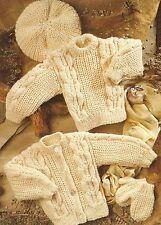 "Baby Aran Sweater Cardigan Hat Mittens Knittingh Pattern Boys Girls 16-30""  810"