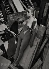 1950s Vintage ZOLTAN GLASS Female Nude Woman Stone Marble Photo Engraving Art