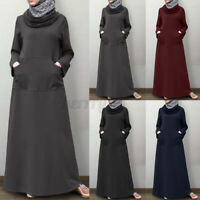ZANZEA Womens Muslim Long Sleeve High Neck Solid Pockets Casual Loose Maxi Dress