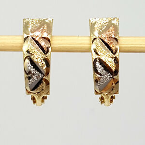 Solid multi-tone gold 14K light weight round pattern leverback earrings 1.3 gram
