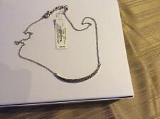 LUCKY BRAND NECKLACE, THIN SILVER CRESCENT W/ HEMATITE CRYSTALS, $35 #Y128a