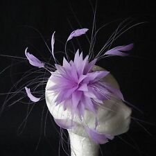 Lilac Feather Fascinator for Races , Weddings , And Proms