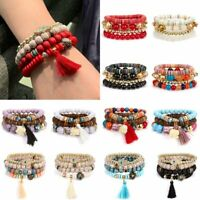 Boho Women Multi-layer Stretch Beads Natural Stone Tassel Bracelet Bangle Gift