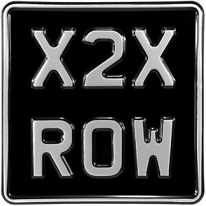 6.5x6.5 novelty black and silver Kids car motorcycle pressed number plate metal