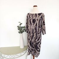 Jane Lamerton Dress Size 16 Petites Black Brown Patterned Shift Business Women's