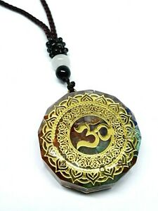 Orgone Pendant Om Symbol Chakra Healing Energy Gemstone Mandala Cord Necklace