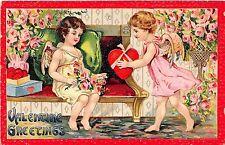 B90/ Valentine's Day Love Holiday Postcard 1910 Cupids Hearts 36