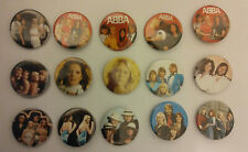 Abba vintage logo buttons pop group LARGE BUTTON set Benni Bjorn Agnetha band