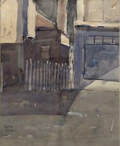 """Watercolor Painting By Herman Pekel (Australian 1956-) """"Inner City Street Scape"""""""