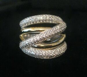 Sterling Silver & Gold Plate & Openback Clear Cz Stones Eternity Ring Size 8
