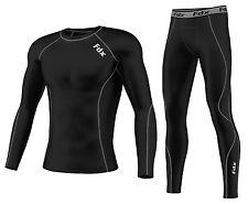 FDX Mens Compression Armour Base layer Top Skin Fit Shirt + Leggings,Pants set