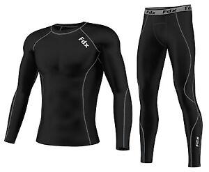 FDX Mens Compression Armour Base layer Top Skin Fit Shirt + Leggings, Pants set