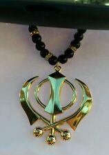 GOLD Plated Punjabi LARGE Sikh Khanda Pendant Car Rear Mirror Hanging Black Bead