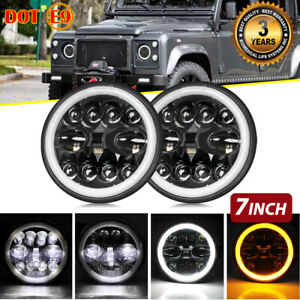 New Upgrade 7 Inch Round LED HeadlightHi Lo Halo Angel Eye DOT For Land Rover
