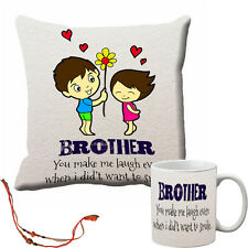 meSleep Rakhi Brother Cushion Cover and Mug Combo With Beautiful Rakhi's
