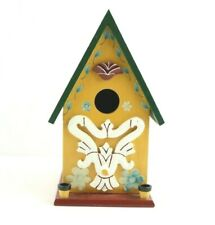 Wooden Bird House Feeder Yellow With Flowers and Decorations.