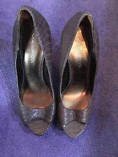 Via Spiga brown leather snakeskin embossed open toe Stiletto pumps size 8.5 $195