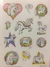 1 VINTAGE 80'S WILLOW WISP PRESS UNICORNS STICKER SHEET   99 cent shipping