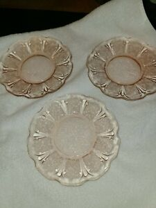 Vintage Jeanette Cherry Blossom pink Sherbet Plates (3)