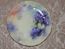 Vtg Hand Painted R. C. Tilly Bavaria Saucer Plate Made in Germany Purple Flowers