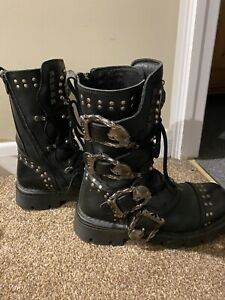 New Rock  Black Boots Size 5