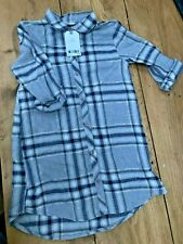 Girls Next Grey Check Denum Blouse Shirt UK Size 7yrs