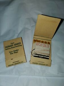 Lot 2 Faemade Undies Matchbook VIntage Hosiery Mending Darning Kit Palmyra PA Ad