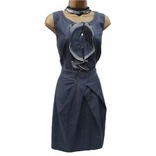 Lovely Karen Millen Denim Ruffle Stitch Casual Day Pleat Shift Tulip Dress 16 UK
