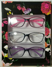 3 Pair Betsey Johnson Readers Reading Glasses Black White Pink Purple 2.00