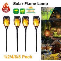 1-8tlg LED Solar Fackel Garten Licht Tanzen Flackernde Flamme Landschaft lampe