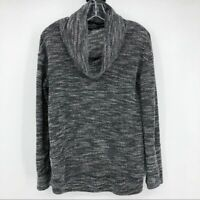 Concepts Women's Size L Cowl Neck Sweater Marled Knit Gray Black Long Sleeve