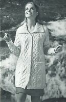 Ladies 3/4 length Aran Coat knitting pattern with collar. Woman's Jacket.