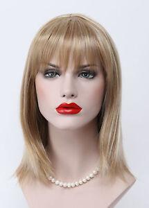 Golden Blonde Pale Blonde strip Mix Short Straight Women Everyday Daily Full Wig