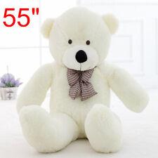 55'' Big White Teddy Bear Case Bow Cuddly Soft Plush Animal Toy Dolls Kid Gifts