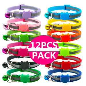12x Bundle Safety Cat Kitten Collar Reflective Cute Quick Release Bell Necklace