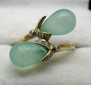 Unusual Design 9 carat Gold Aquamarine And Diamond Dress Ring Size L
