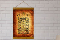 "Judaica SHIVITI Canvas Framed Ancient Hebrew Kabbalah Talisman Amulet 8.7""x11.8"""