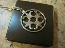 LARGE CELTIC HALLMARKED SILVER ORTAK 17g St. MAGNUS CROSS PENDANT NECKLACE
