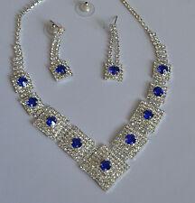Wedding Bridal Prom Blue Rhinestone Crystal Sliver Necklace Earring Jewelry Set