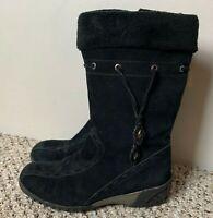 Khombu Women's Boots Size 9 M Suede Leather Black Faux Fur Lining Casual