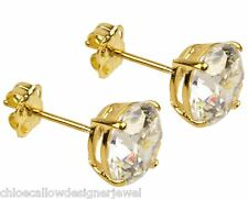 1x Pair of 9ct Yellow Gold 7mm CZ Gem Set Ear Studs Earrings + gift bag