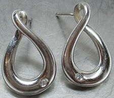 925 STERLING SILVER Genuine DIAMOND Infinity Designer Earrings ~ BEAUTIFUL, L@@K