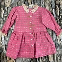 VTG OSH KOSH B'GOSH GIRLS SIZE 2T BUTTON UP FLORAL PRINT PINK DRESS MADE IN USA