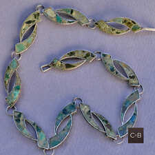 *Vintage 30's Crushed Turquoise MEXICAN St Silver  Necklace Rolling Wave Design