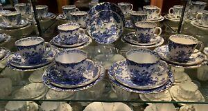 1909 - Royal Crown Derby - Blue & White Pheasant - Tea Service